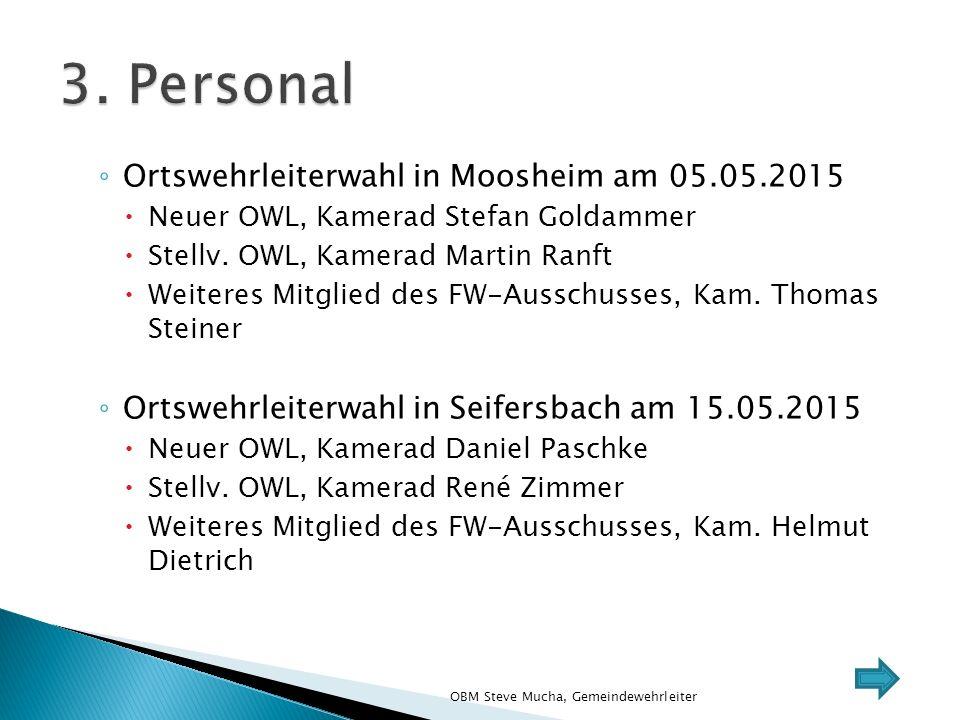◦ Ortswehrleiterwahl in Moosheim am 05.05.2015  Neuer OWL, Kamerad Stefan Goldammer  Stellv.