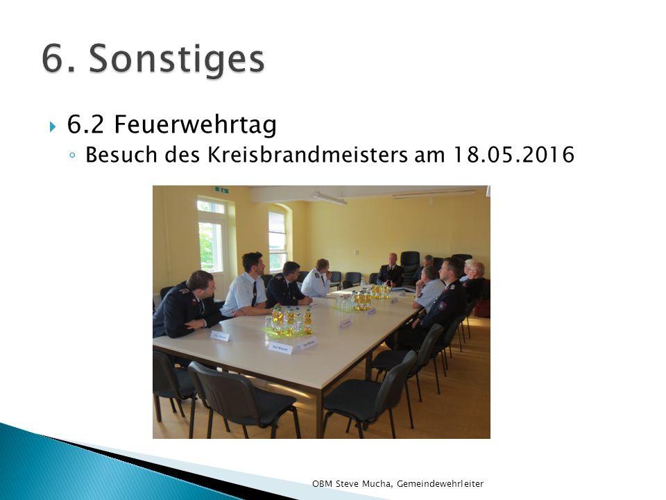  6.2 Feuerwehrtag ◦ Besuch des Kreisbrandmeisters am 18.05.2016 OBM Steve Mucha, Gemeindewehrleiter