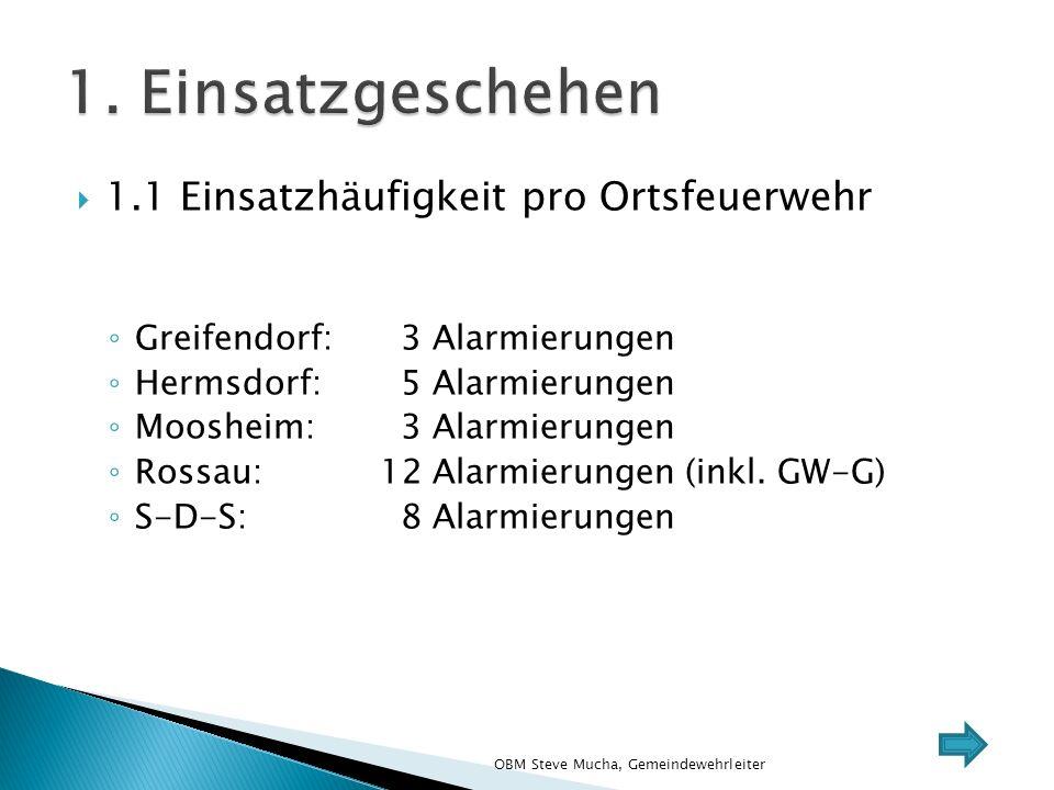  1.1 Einsatzhäufigkeit pro Ortsfeuerwehr ◦ Greifendorf: 3 Alarmierungen ◦ Hermsdorf: 5 Alarmierungen ◦ Moosheim: 3 Alarmierungen ◦ Rossau:12 Alarmierungen (inkl.