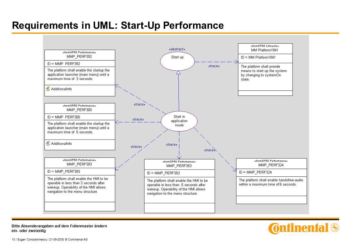 Bitte Absenderangaben auf dem Folienmaster ändern ein- oder zweizeilig 10 / Eugen Constantinescu / 21-09-2008 © Continental AG Requirements in UML: Start-Up Performance