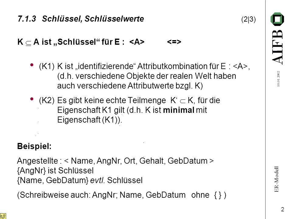 """ER-Modell 10.01.2002 2 K  A ist """"Schlüssel"""" für E : (K1)K ist """"identifizierende"""" Attributkombination für E :, (d.h. verschiedene Objekte der realen W"""