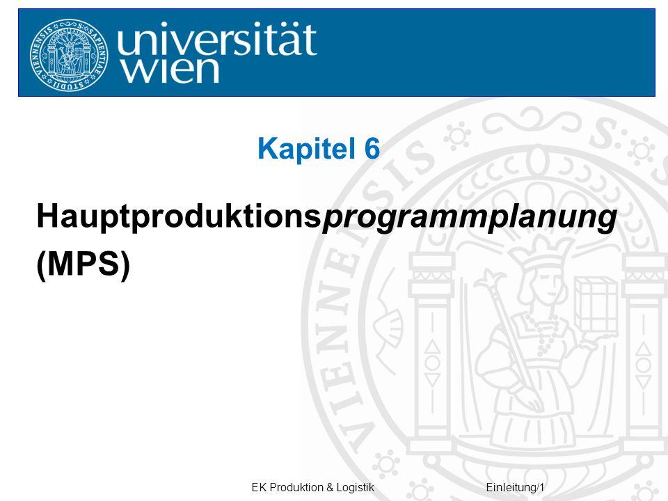 EK Produktion & LogistikEinleitung/1 Hauptproduktionsprogrammplanung (MPS) Kapitel 6