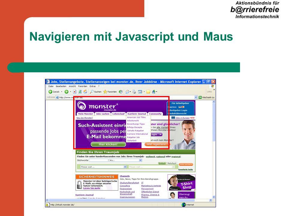 Navigieren mit Javascript und Maus