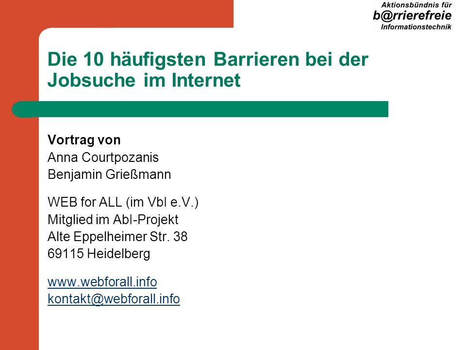 WEB for ALL – Projekt für Barrierefreiheit im Internet Engagiert sich seit 2000 für die Umsetzung von Barrierefreiheit Test, Schulung, Beratung Mitglied im Aktionsbündnis für Barrierefreie Informationstechnik (AbI-Projekt)