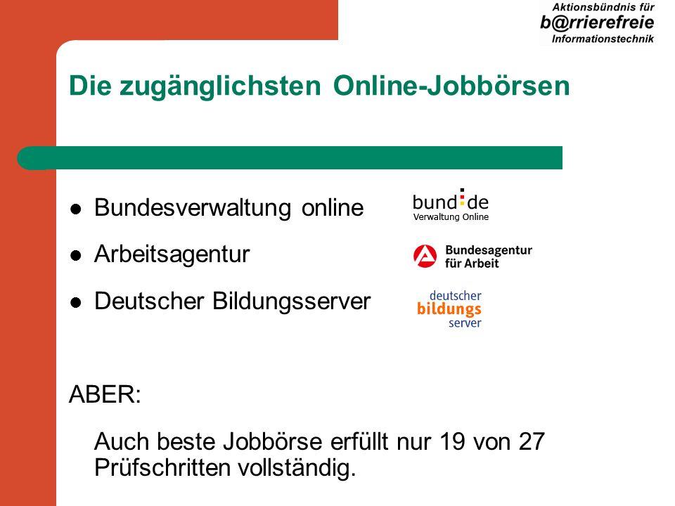 Die zugänglichsten Online-Jobbörsen Bundesverwaltung online Arbeitsagentur Deutscher Bildungsserver ABER: Auch beste Jobbörse erfüllt nur 19 von 27 Prüfschritten vollständig.