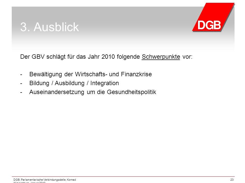 DGB, Parlamentarische Verbindungsstelle, Konrad Klingenburg, Januar 2010 23 3. Ausblick Der GBV schlägt für das Jahr 2010 folgende Schwerpunkte vor: -
