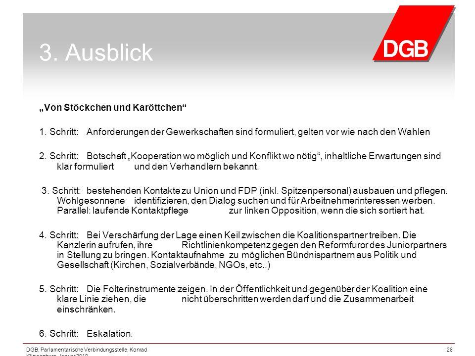 """DGB, Parlamentarische Verbindungsstelle, Konrad Klingenburg, Januar 2010 28 3. Ausblick """"Von Stöckchen und Karöttchen"""" 1. Schritt:Anforderungen der Ge"""