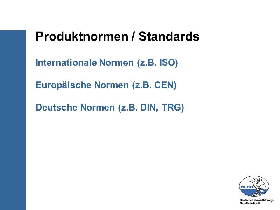 Internationale Normen (z.B. ISO) Europäische Normen (z.B. CEN) Deutsche Normen (z.B. DIN, TRG) Produktnormen / Standards