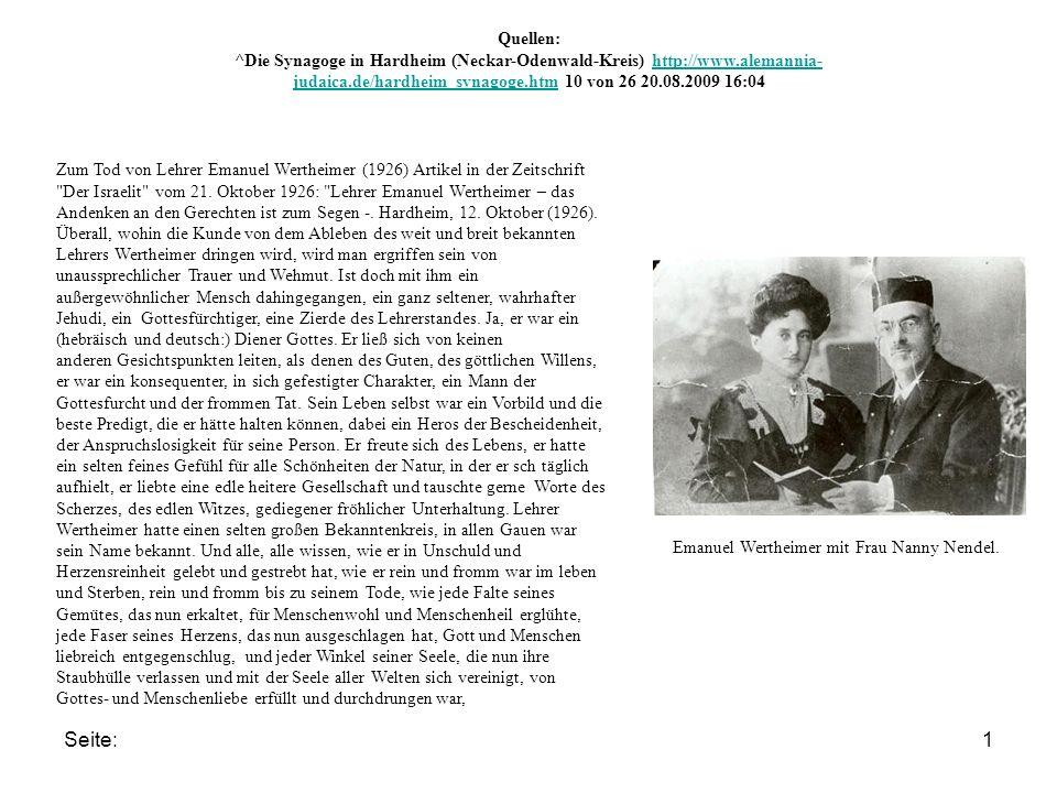 Seite:1 Zum Tod von Lehrer Emanuel Wertheimer (1926) Artikel in der Zeitschrift Der Israelit vom 21.