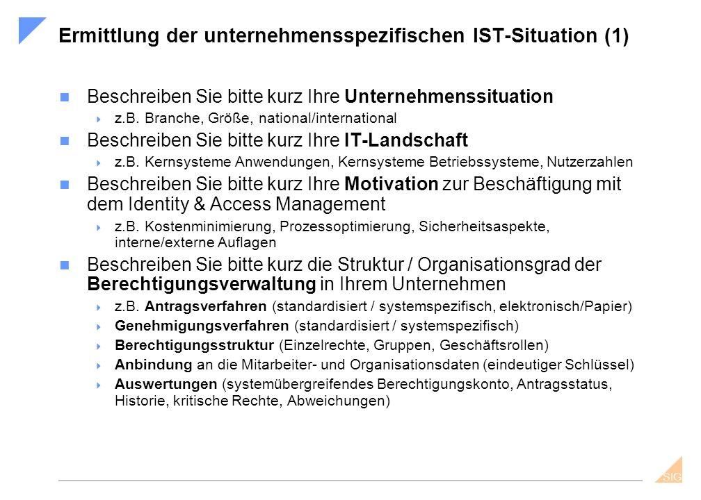 SIG Ermittlung der unternehmensspezifischen IST-Situation (2) Beschreiben Sie bitte kurz die organisatorischen Rahmenbedingungen in Ihrem Unternehmen  z.B.