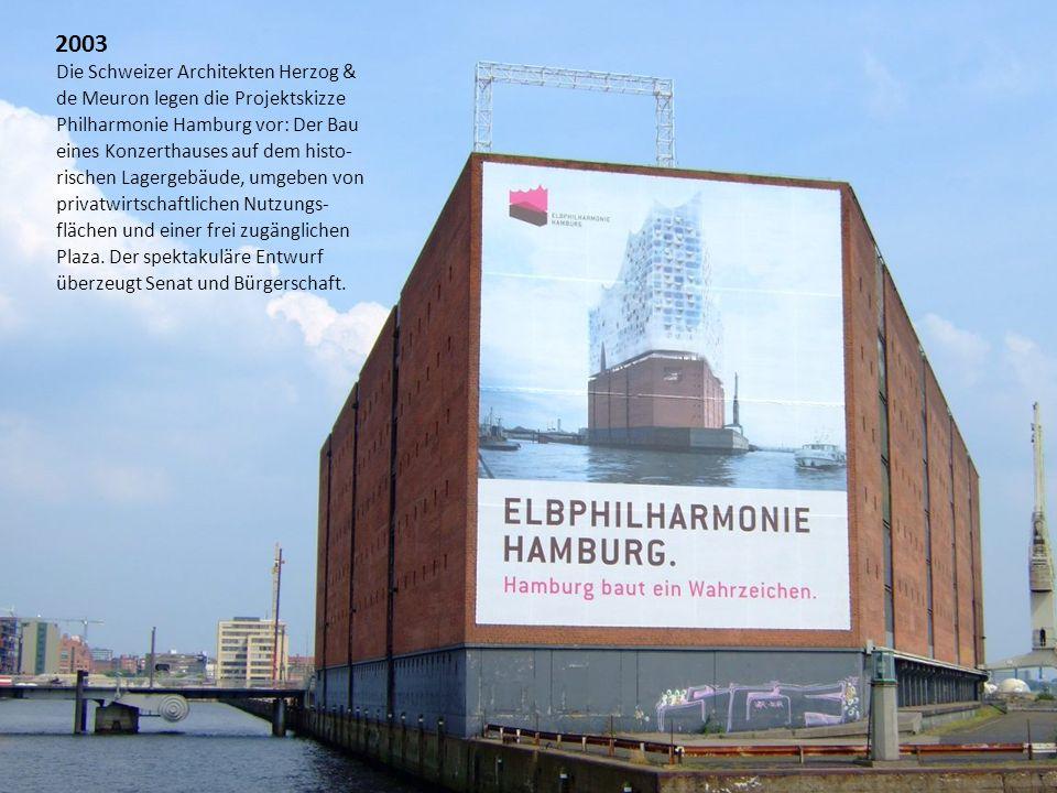 Die Schweizer Architekten Herzog & de Meuron legen die Projektskizze Philharmonie Hamburg vor: Der Bau eines Konzerthauses auf dem histo- rischen Lage