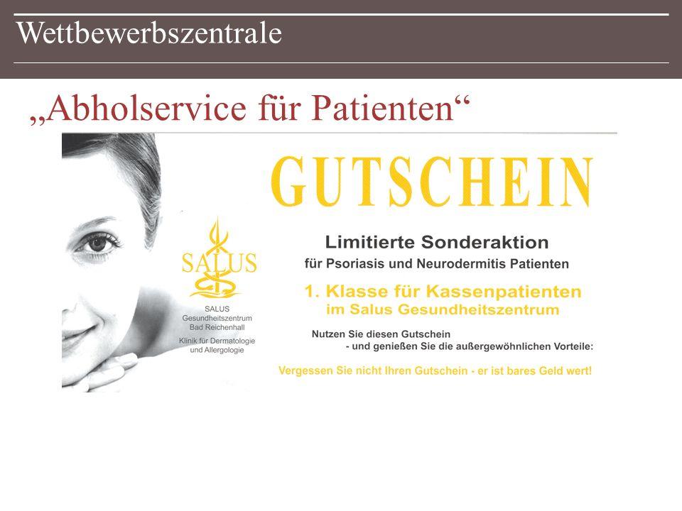 """Wettbewerbszentrale """"Abholservice für Patienten"""
