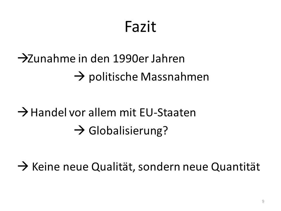 Fazit  Zunahme in den 1990er Jahren  politische Massnahmen  Handel vor allem mit EU-Staaten  Globalisierung.