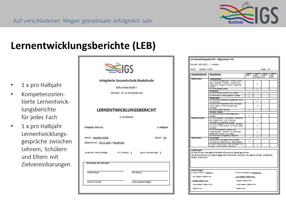 Lernentwicklungsberichte (LEB) 1 x pro Halbjahr Kompetenzorien- tierte Lernentwick- lungsberichte für jedes Fach 1 x pro Halbjahr Lernentwicklungs- ge