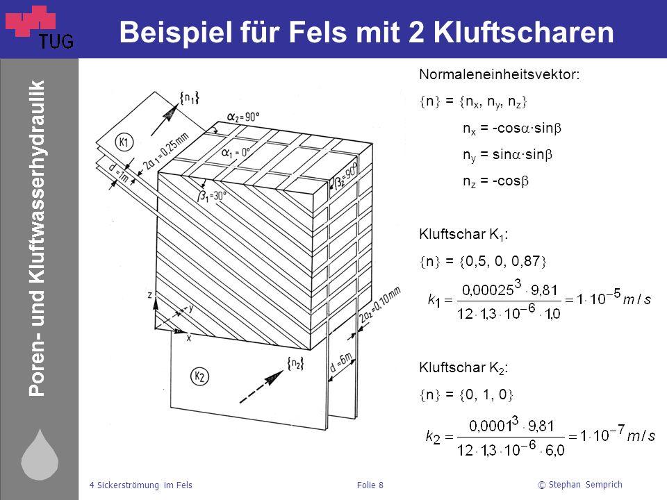 © Stephan Semprich 4 Sickerströmung im FelsFolie 8 Poren- und Kluftwasserhydraulik Beispiel für Fels mit 2 Kluftscharen Normaleneinheitsvektor:  n  =  n x, n y, n z  n x = -cos  ∙sin  n y = sin  ∙sin  n z = -cos  Kluftschar K 1 :  n  =  0,5, 0, 0,87  Kluftschar K 2 :  n  =  0, 1, 0 