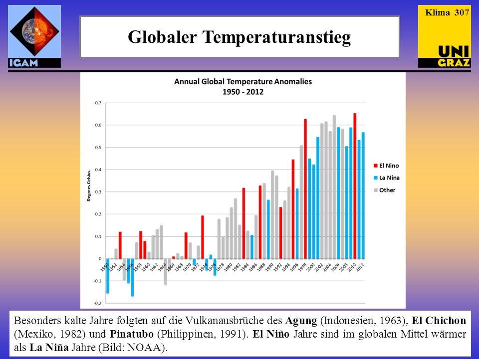 Globaler Temperaturanstieg Klima 308 Vulkanausbrüche machen sich ins- besondere bei den (niedrigen) Land- Temperaturen be- merkbar, El Niño bei (hohen) Meer- Temperaturen (Bild: GISS).
