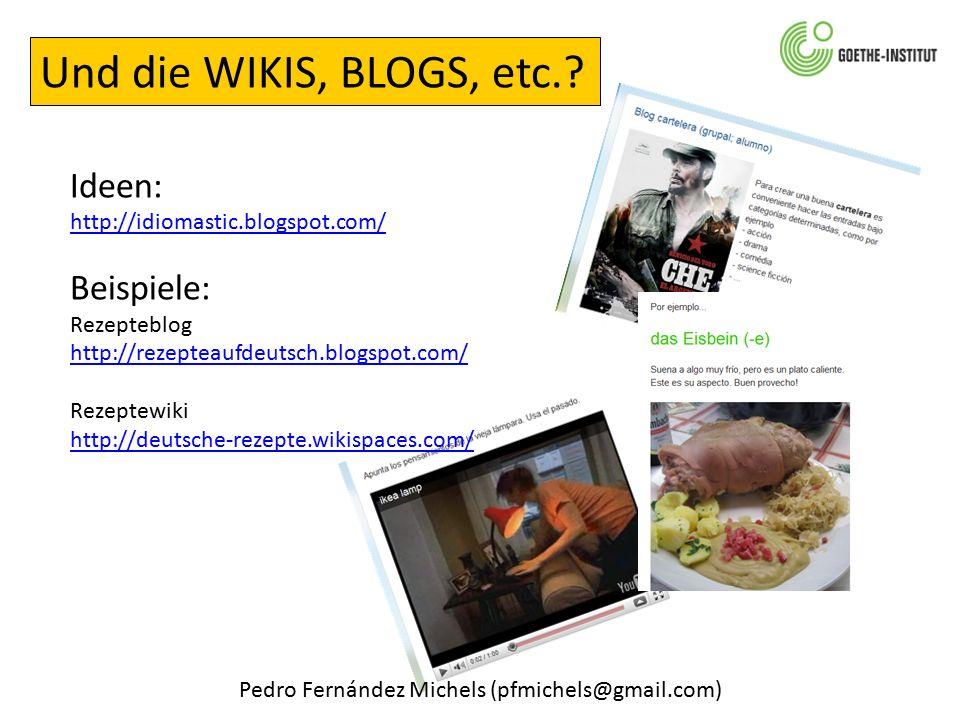 Pedro Fernández Michels (pfmichels@gmail.com) Und die WIKIS, BLOGS, etc..