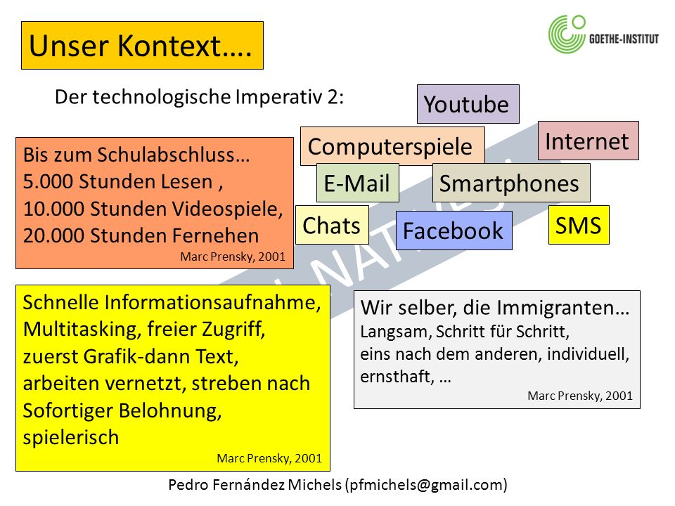 "Pedro Fernández Michels (pfmichels@gmail.com) Der technologische Imperativ 2: Unser Kontext…. ""DIGITAL NATIVES"" Computerspiele Chats Youtube Smartphon"