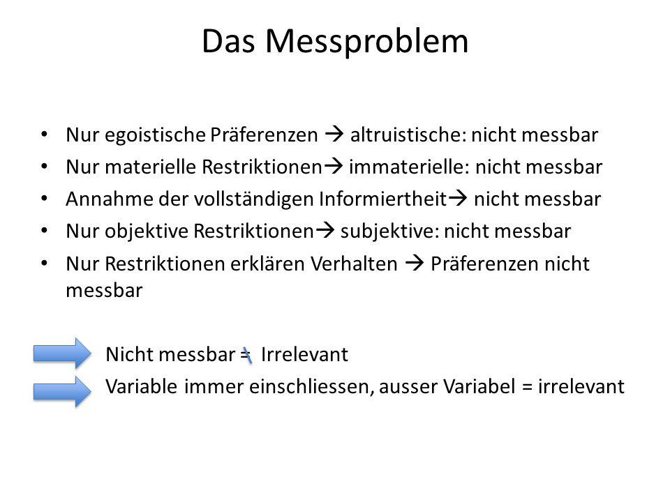 Das Messproblem Nur egoistische Präferenzen  altruistische: nicht messbar Nur materielle Restriktionen  immaterielle: nicht messbar Annahme der voll