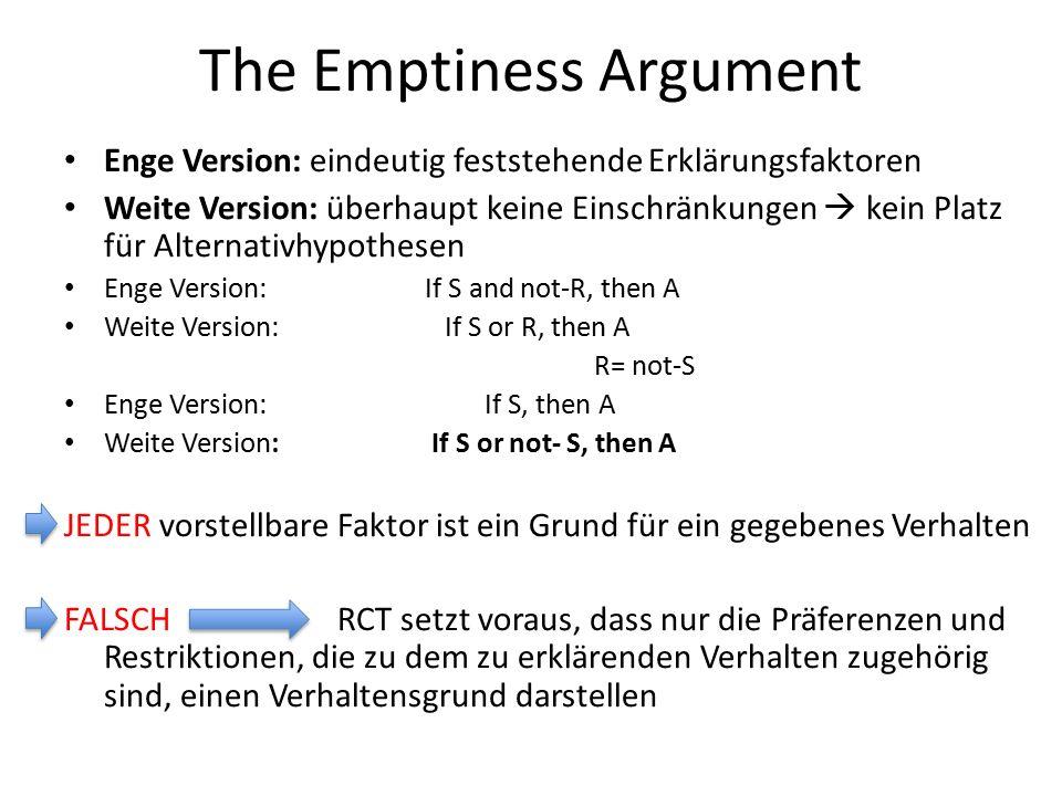The Emptiness Argument Enge Version: eindeutig feststehende Erklärungsfaktoren Weite Version: überhaupt keine Einschränkungen  kein Platz für Alternativhypothesen Enge Version: If S and not-R, then A Weite Version: If S or R, then A R= not-S Enge Version: If S, then A Weite Version: If S or not- S, then A JEDER vorstellbare Faktor ist ein Grund für ein gegebenes Verhalten FALSCH RCT setzt voraus, dass nur die Präferenzen und Restriktionen, die zu dem zu erklärenden Verhalten zugehörig sind, einen Verhaltensgrund darstellen