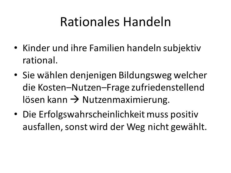 Rationales Handeln Kinder und ihre Familien handeln subjektiv rational.