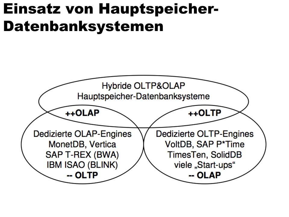 Einsatz von Hauptspeicher- Datenbanksystemen