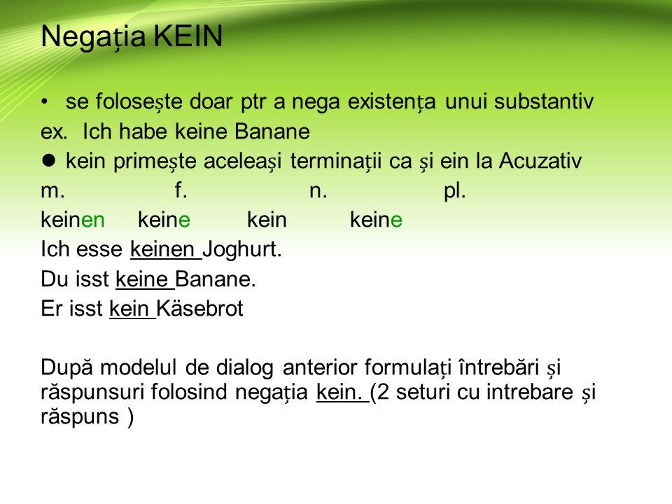 Negaia KEIN se folosete doar ptr a nega existena unui substantiv ex.