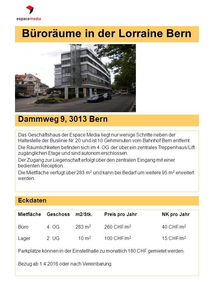 Büroräume in der Lorraine Bern Dammweg 9, 3013 Bern Das Geschäftshaus der Espace Media liegt nur wenige Schritte neben der Haltestelle der Buslinie Nr.