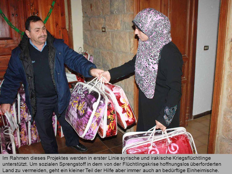 Im Rahmen dieses Projektes werden in erster Linie syrische und irakische Kriegsflüchtlinge unterstützt. Um sozialen Sprengstoff in dem von der Flüchtl