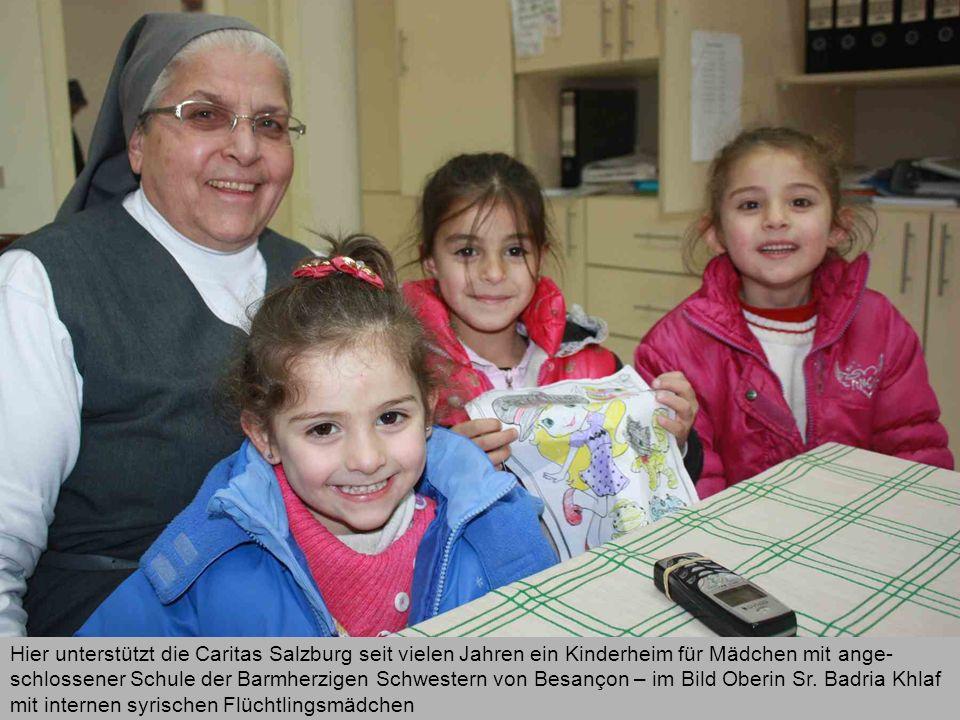 Hier unterstützt die Caritas Salzburg seit vielen Jahren ein Kinderheim für Mädchen mit ange- schlossener Schule der Barmherzigen Schwestern von Besançon – im Bild Oberin Sr.