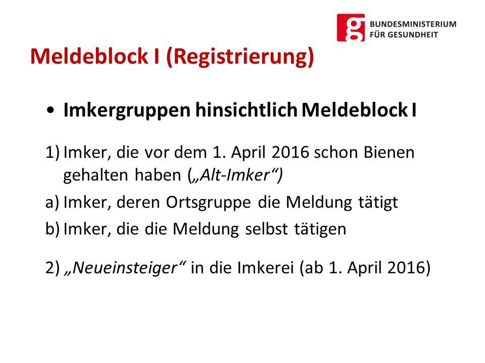 """Imkergruppen hinsichtlich Meldeblock I 1)Imker, die vor dem 1. April 2016 schon Bienen gehalten haben (""""Alt-Imker"""") a)Imker, deren Ortsgruppe die Meld"""