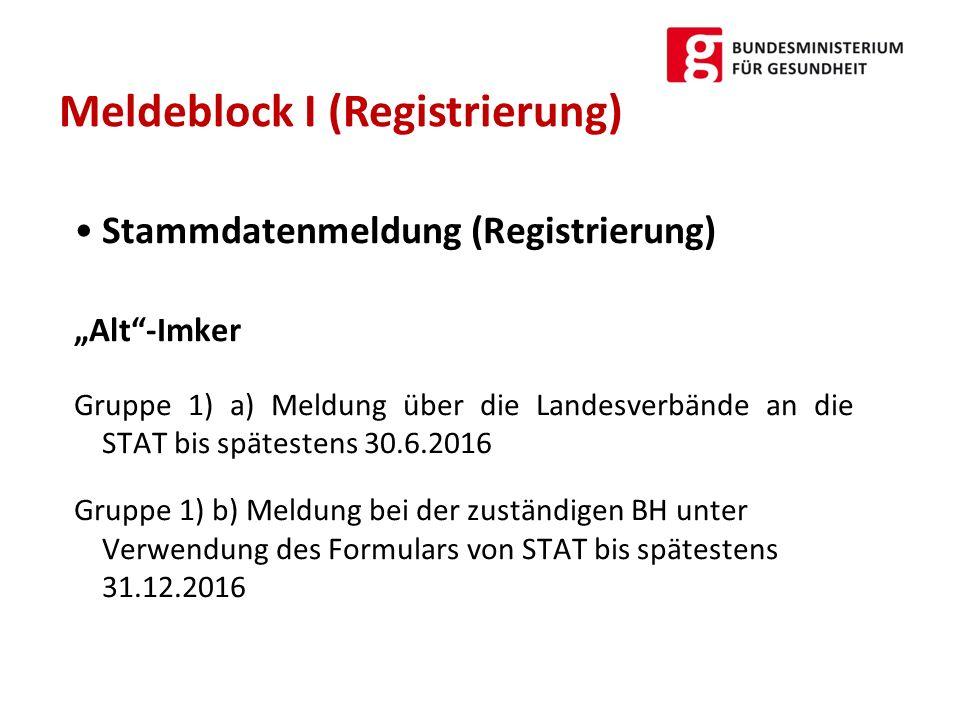 """Stammdatenmeldung (Registrierung) """"Alt""""-Imker Gruppe 1) a) Meldung über die Landesverbände an die STAT bis spätestens 30.6.2016 Gruppe 1) b) Meldung b"""