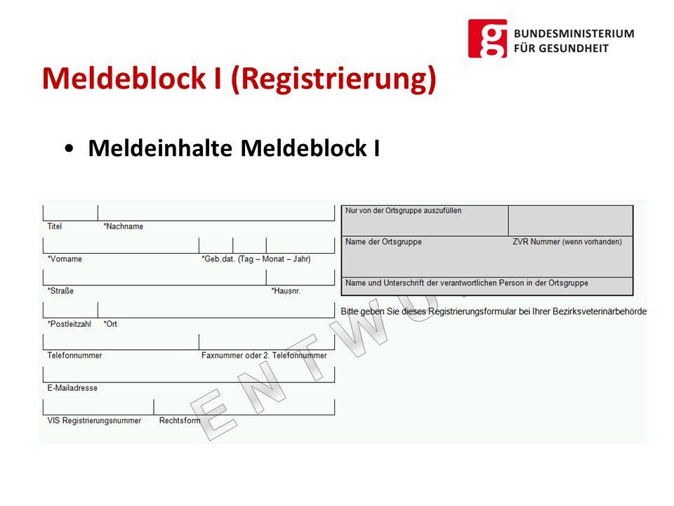 Meldeinhalte Meldeblock I Meldeblock I (Registrierung)