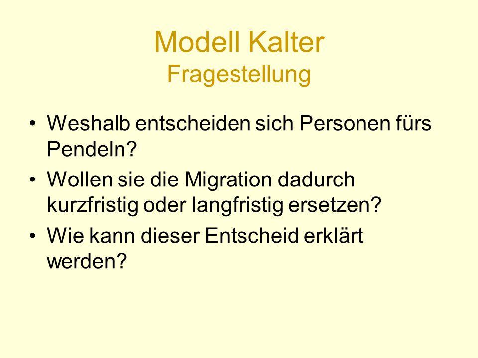 Modell Kalter Fragestellung Weshalb entscheiden sich Personen fürs Pendeln.