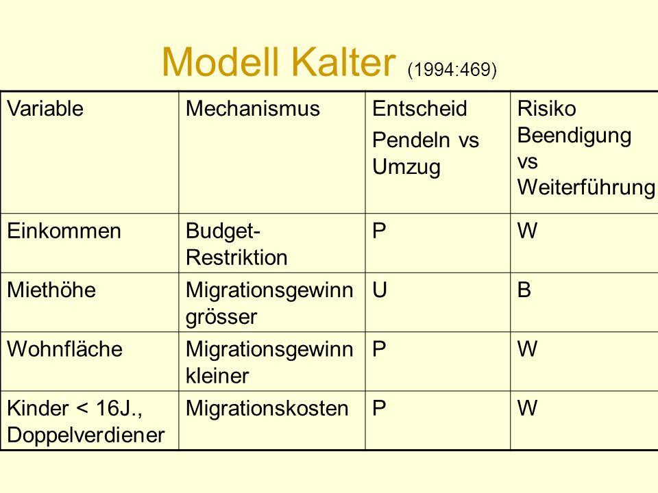 Modell Kalter (1994:469) VariableMechanismusEntscheid Pendeln vs Umzug Risiko Beendigung vs Weiterführung EinkommenBudget- Restriktion PW MiethöheMigr
