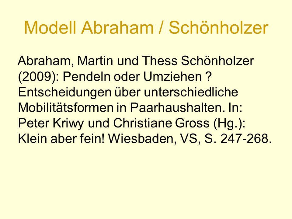 Modell Abraham / Schönholzer Abraham, Martin und Thess Schönholzer (2009): Pendeln oder Umziehen .