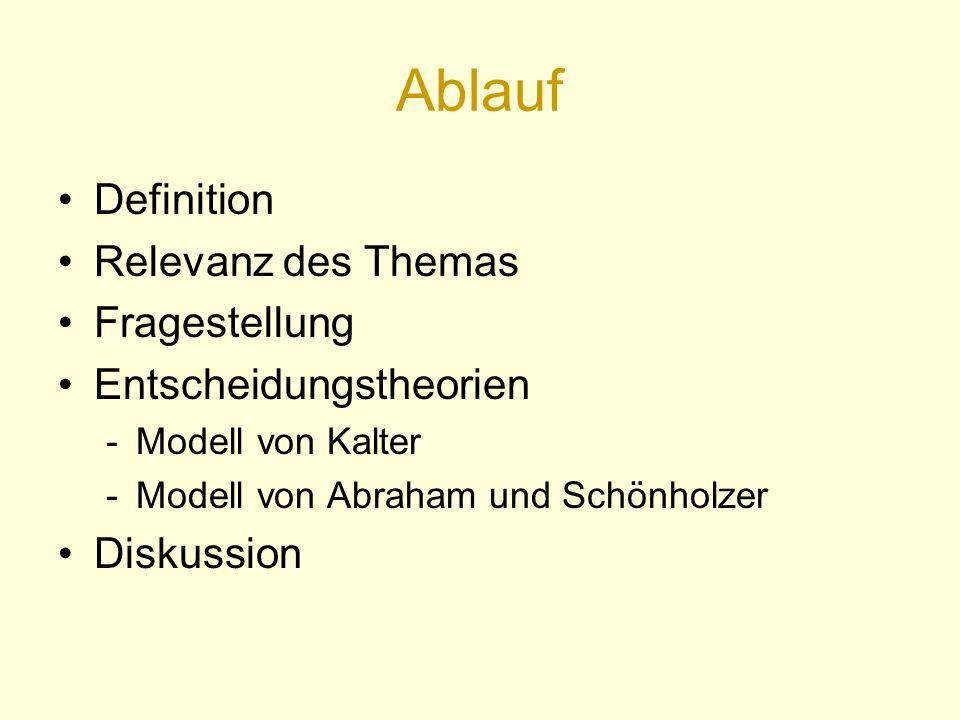 Ablauf Definition Relevanz des Themas Fragestellung Entscheidungstheorien -Modell von Kalter -Modell von Abraham und Schönholzer Diskussion
