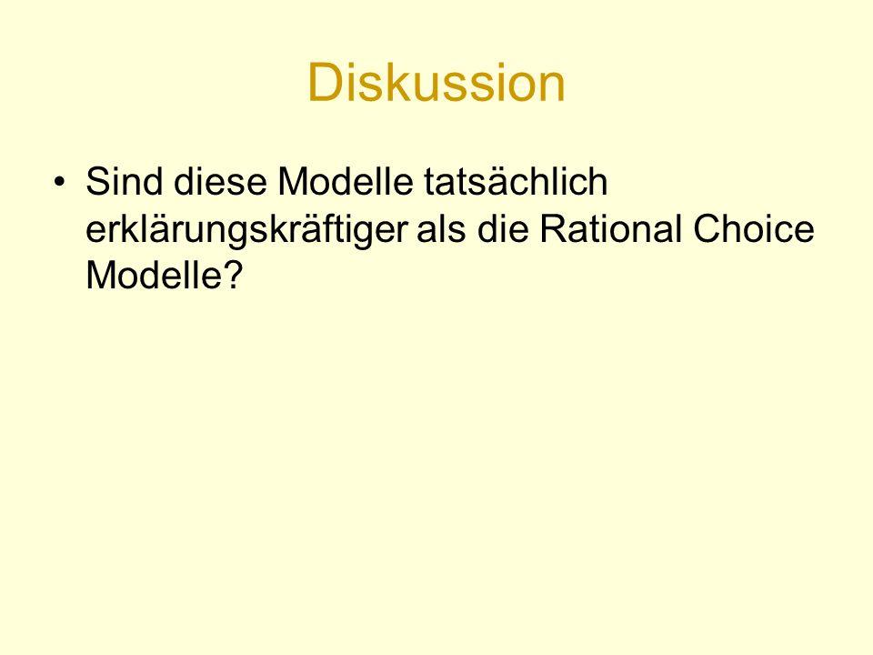 Diskussion Sind diese Modelle tatsächlich erklärungskräftiger als die Rational Choice Modelle