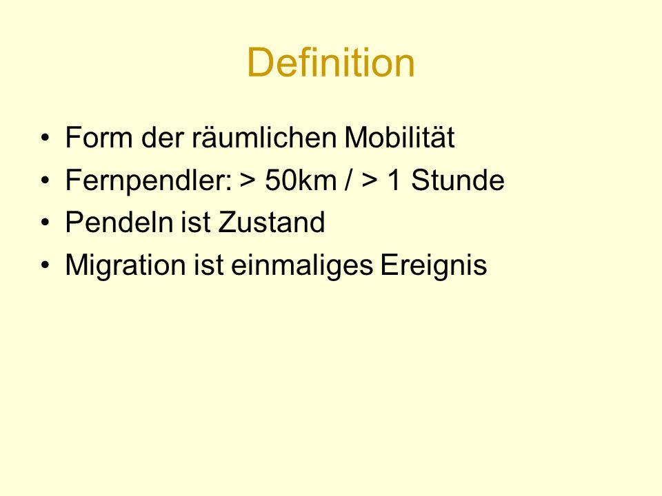 Definition Form der räumlichen Mobilität Fernpendler: > 50km / > 1 Stunde Pendeln ist Zustand Migration ist einmaliges Ereignis