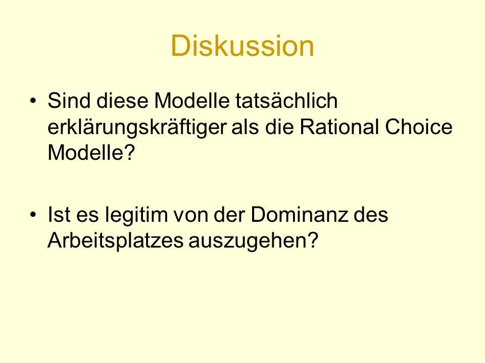 Diskussion Sind diese Modelle tatsächlich erklärungskräftiger als die Rational Choice Modelle.