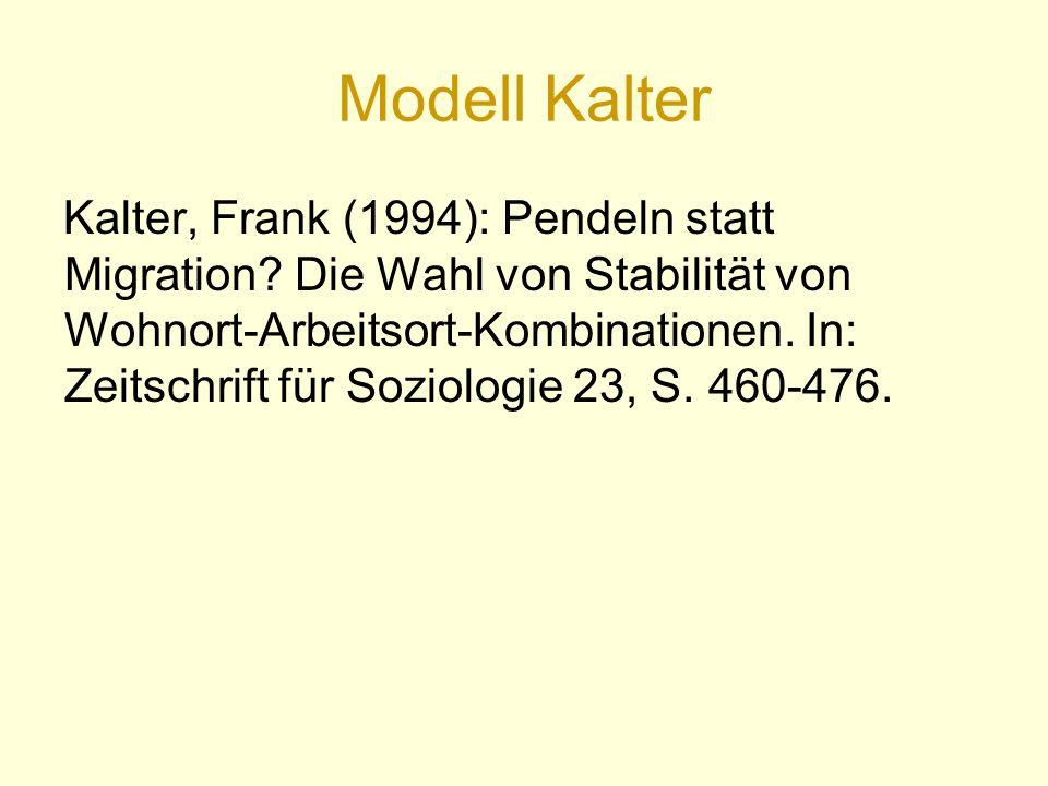 Modell Kalter Kalter, Frank (1994): Pendeln statt Migration.