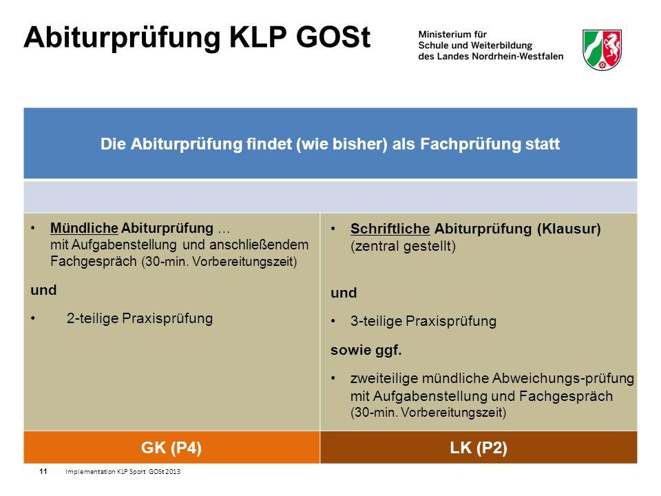 11 Die Abiturprüfung findet (wie bisher) als Fachprüfung statt GK (P4)LK (P2) Implementation KLP Sport GOSt 2013 Mündliche Abiturprüfung … mit Aufgabenstellung und anschließendem Fachgespräch (30-min.