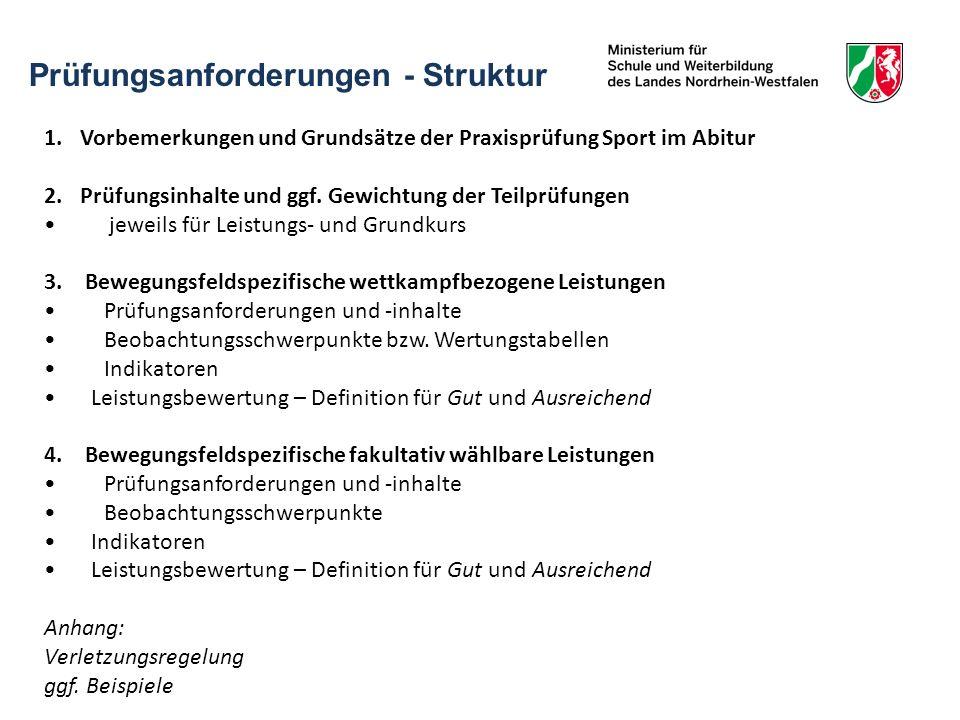 Prüfungsanforderungen - Struktur 1.Vorbemerkungen und Grundsätze der Praxisprüfung Sport im Abitur 2.Prüfungsinhalte und ggf. Gewichtung der Teilprüfu