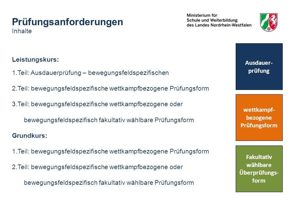 Prüfungsanforderungen Inhalte Leistungskurs: 1.Teil: Ausdauerprüfung – bewegungsfeldspezifischen 2.Teil: bewegungsfeldspezifische wettkampfbezogene Pr