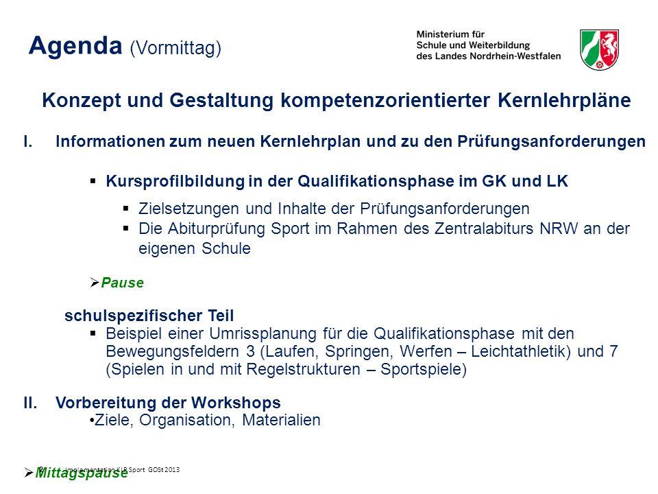 Prüfungsanforderungen im Rahmen kompetenzorientierter Kernlehrpläne Zielsetzungen Orientierung an ausgewiesenen Kompetenzerwartungen des KLP Sport Gleiche Anforderungen in der Praxis in Grund- und Leistungskursen Sicherung der Vergleichbarkeit der Anforderungen/ Standardisierung durch vorgegebenen Prüfungsrahmen Wahlfreiheit für die Prüflinge trotz Standardisierung Orientierung der Prüfungsanforderungen an EPA (einheitliche Prüfungsanforderungen der KMK) - Minimalkonsens Konkretisierung der Prüfungsgestaltung durch die Fachkonferenz auf der Grundlage der Prüfungsstandards sowie der Rahmenbedingungen der Schule (Ausstattung, Anzahl der Prüflinge u.v.m.) Anzeige der Prüfungsinhalte einer Schule vor dem Hintergrund des jeweiligen Kursprofils mit Hilfe von Formatvorlagen statt Genehmigungsverfahren Standardisierte Verletzungsregelung statt Genehmigungsverfahren (Anzeige am Ende des ZA) Praxis - Prüfung