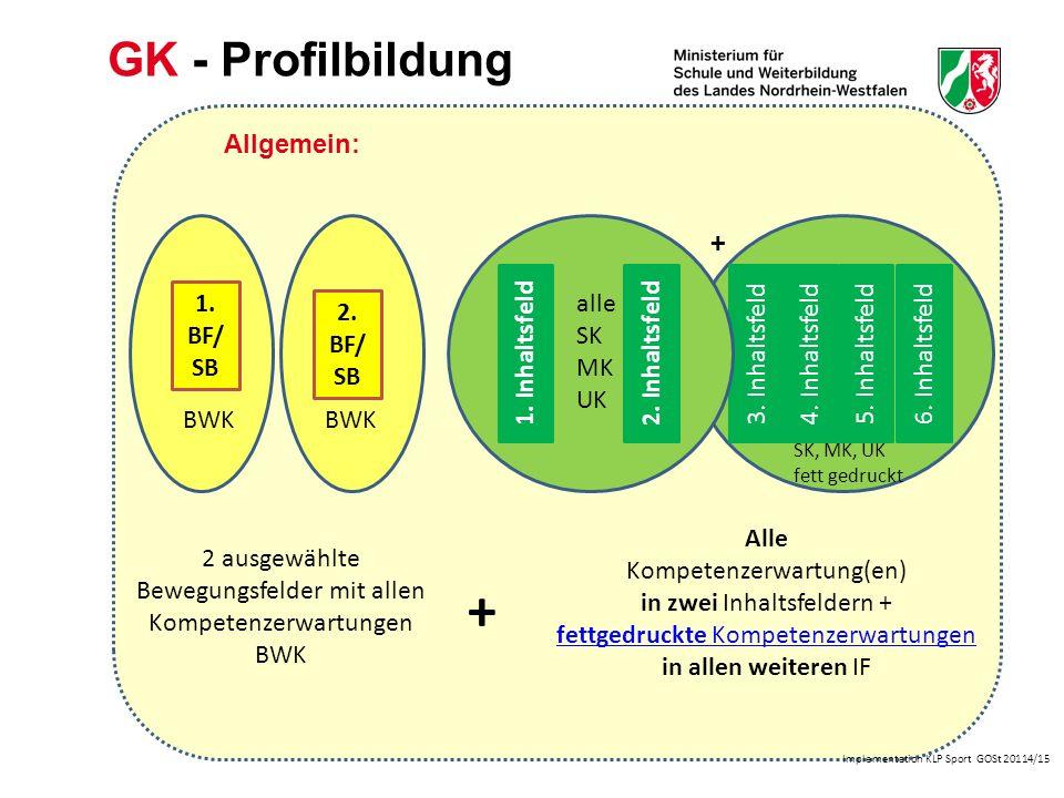 Implementation KLP Sport GOSt 20114/15 GK - Profilbildung Alle Kompetenz- erwartungen in den profilbildenden BF/SB 3 und 7 BF/ SB 7 IF d (profilbildend) Alle Kompetenzerwartung(en)Kompetenzerwartung(en) in den profilbildenden IF e und d + fettgedruckte Kompetenzerwartungen in IF a, b, c, f + BF/ SB 3 BWK IF a IF b IF c IF f SK, MK, UK Fett gedruckt + Beispiel BF/SB 3 und BF/SB 7: (profilbildend) alle SK MK UK IF e (profilbildend)