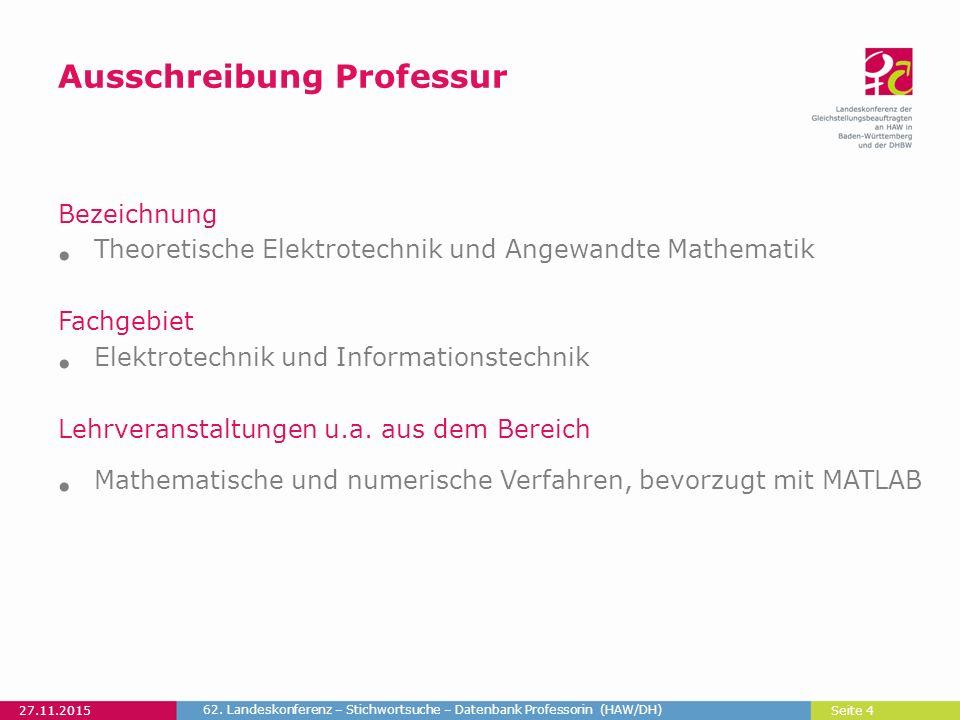 Seite 4 Ausschreibung Professur Bezeichnung Theoretische Elektrotechnik und Angewandte Mathematik Fachgebiet Elektrotechnik und Informationstechnik Lehrveranstaltungen u.a.