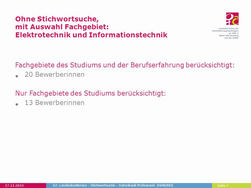 Seite 8 27.11.2015 62. Landeskonferenz – Stichwortsuche – Datenbank Professorin (HAW/DH)