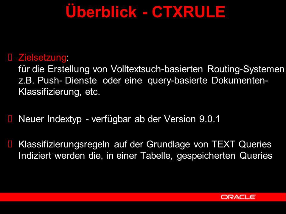 Überblick - CTXRULE  Zielsetzung: für die Erstellung von Volltextsuch-basierten Routing-Systemen z.B. Push- Dienste oder eine query-basierte Dokument