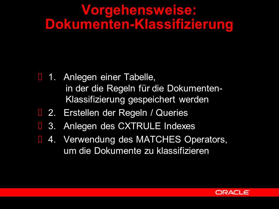  1. Anlegen einer Tabelle, in der die Regeln für die Dokumenten- Klassifizierung gespeichert werden  2. Erstellen der Regeln / Queries  3. Anlegen